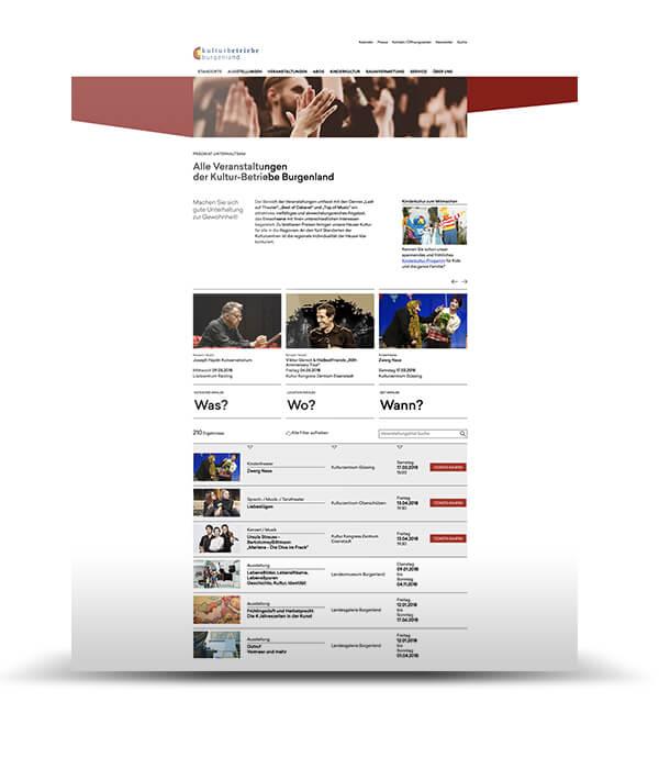 Website Screenshot Veranstaltungen